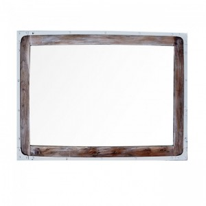 Angle Industrial Wall Bathroom Mirror Frame White 90cm