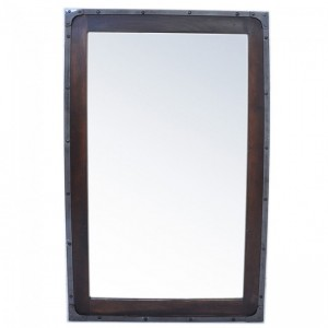 Angle Industrial Wall Bathroom Mirror Frame Chocolate 115cm