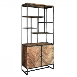 Lava Industrial Parquetry Large bookshelf display stand