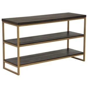 Industrial Dark Brown 3-Tier Console Shelf Gold Metal Frame