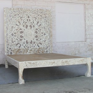 Dynasty Wooden Carved Queen Bed With Bedhead