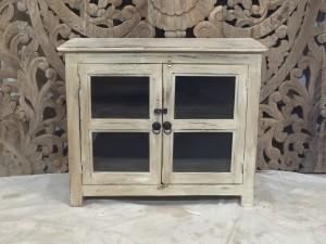Indian Distressed Rustic Timber Glass Door Cabinet 70 cm