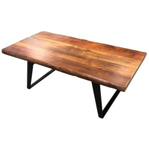 Rectangular Live Edge Mango Wood Cast Iron Base Coffee Table Zyra