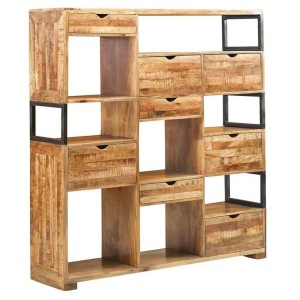 Industrial Mango Wood Office Display Cabinet with 8 Drawers Storage Book Shelves
