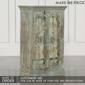 Antique Old Door wooden Sideboard Rustic Cupboard Green