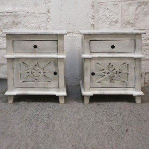 French Arched Doors Glass Back Bedside cabinet bed side tables Whitewash PAIR