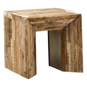 Square Rustic Reclaimed Wood Planks End Side Accent Table Luka