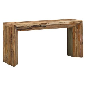Narrow Rustic Reclaimed Wood Planks Console Sofa Table Luka