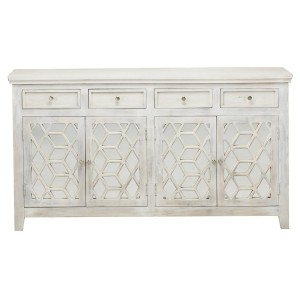 French Arched White Wash Mirrored Sideboard With 4 Drawers and 4 Doors