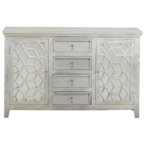 French Arched Hand Carved Mirrored Sideboard With 4 Drawers and 2 Doors White