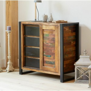 Aspen Reclaimed Wood Industrial Sideboard Buffet Hutch 90cm