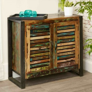Aspen Reclaimed Wood Industrial Shoe Hall Cabinet 90cm