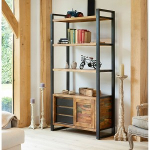 Aspen Reclaimed Wood Industrial sliding door Bookshelf Book case