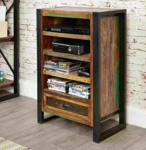 Aspen Reclaimed Wood Industrial 1 drawer small Bookshelf stand