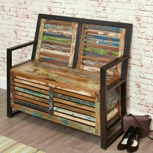 Aspen Reclaimed Wood Industrial Bench with storage shoe rack