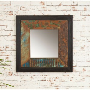 Aspen Reclaimed Wood Industrial Bathroom Wall Mirror 60cm