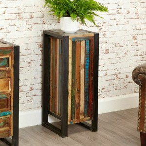 Aspen Reclaimed Wood Industrial Tall Side Table Lamp Pot Stand