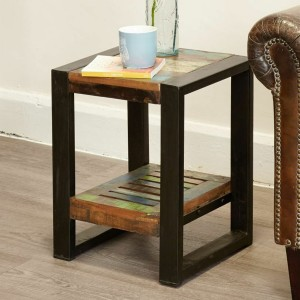 Aspen Reclaimed Wood Industrial 1 shelf Side Table Lamp Stand