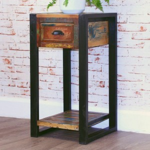 Aspen Reclaimed Wood Industrial Tall Side Lamp Table Bedside