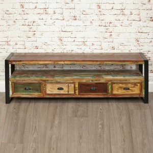 Aspen Reclaimed Wood Industrial TV Entertainment unit 4 drawer