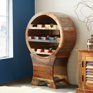 Aspen Colonial Reclaimed Wood Bar Drinks Cabinet Wine Rack