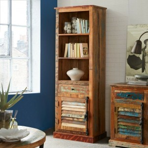 Aspen Colonial Reclaimed Wood Industrial Tall Bookshelf book stand