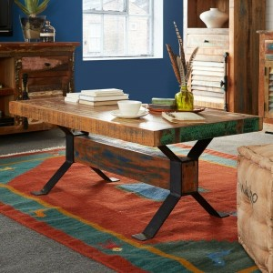 Aspen Colonial Reclaimed Wood Industrial rectangle coffee table