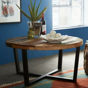 Aspen Colonial Reclaimed Wood Industrial Round coffee table