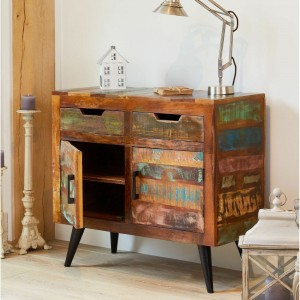 Aspen Scandi Reclaimed Wood Industrial Sideboard Buffet 90cm