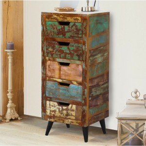 Aspen Scandi Reclaimed Wood Industrial Tallboy chest of drawers