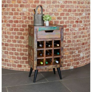 Aspen Scandi Reclaimed Wood Bar drinks Cabinet Winerack