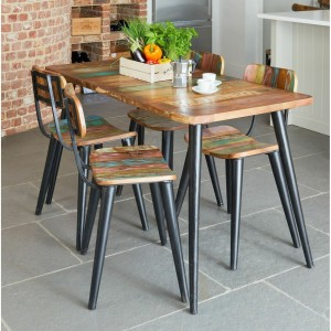 Aspen Scandi Reclaimed Wood Industrial Small Dining Table 140cm