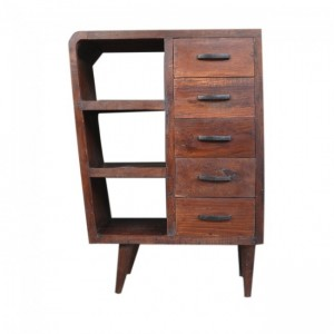 Avalon Scandinavian Small Cabinet with 5 drawers Natural Brown