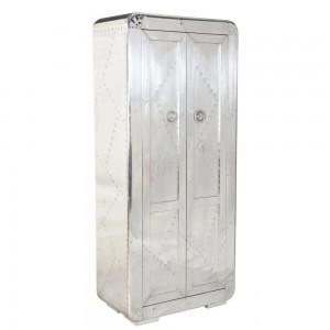 Aviator Aluminium Aviation rivet detail tall cabinet with 3 shelves 80x45x180cm