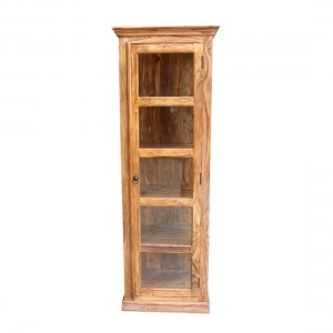Indian Solid Wood Bookshelf Cabinet With Glass Single Door Natural  60 x50 x 190 Cm