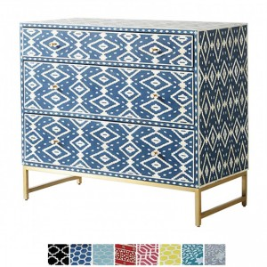 Maaya Bone inlay Blue Floral Chest of 3 Drawers dresser
