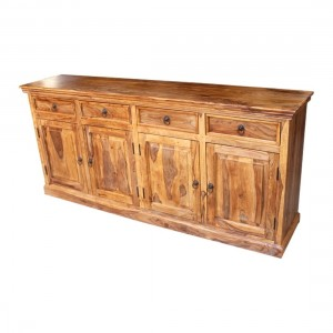 Indian Solid Wood Sideboard With Doors & Drawers Natural 200x45x90 Cm