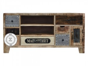 Lava Industrial Indian Solid Wood Tv Cabinet With Drawers Natural