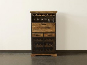 Industrial Wooden Bar Cabinet Natural