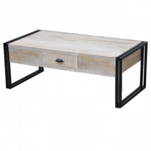 Barn Industrial Coffee Table 2 Drawers White