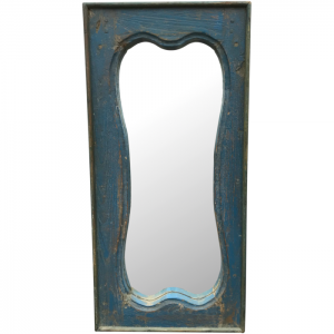 Vintage Indian Antique Blue Painted Teak Mirror Frame