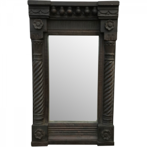 Floral Hand Carved Ornate Teak Wooden Wall Mirror Frame Black