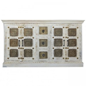 Indian Embossed Antique Brass work Solid wood Sideboard Buffet White 160cm