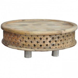 Bristol Carved Legs Bamileke Round Drum Coffee Table Natural 80cm