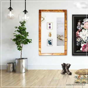 Shutter Indian Solid Wood Frame With Mirror Natural 130 x 220 Cm