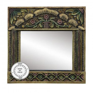 Floral Hand Painted Indian Wood Carved And Colorful Frame B