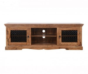 Indian Solid Wood TV Unit With Glass Jali Doors Natural 180 x 45 x 60 Cm
