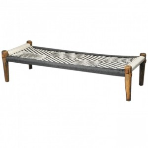 Indian Solid Wood Charpai Khat Manjhi Woven Charpoy Daybed Black & White L
