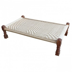 Indian Solid Wood Charpai Khat Manjhi Woven Charpoy Daybed Brown & White L