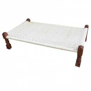 Indian Manjhi Woven Charpai Daybed White